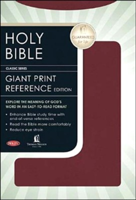 NKJV Personal Size Giant Print Reference Bible Burgundy Bonded Leather  -