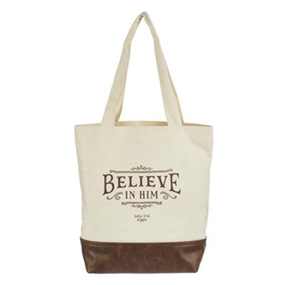 Believe in Him Canvas Tote  -