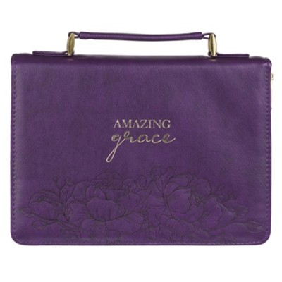 Amazing Grace Bible Cover, Purple Floral, Medium  -