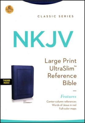 NKJV Large Print Ultraslim Reference Bible, Leathersoft Rich Navy Indexed  -