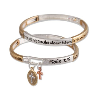 John 3:16 Stretch Bracelet, Cross Charms, Two-Tone  -