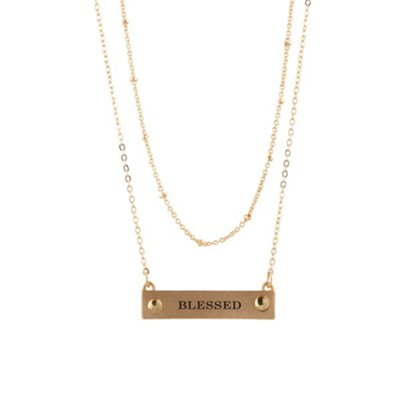 Blessed Bar Necklace, 2-Rows, Gold  -