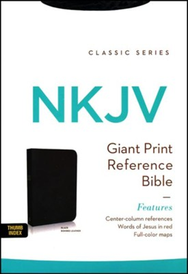 NKJV Giant Print Center-Column Reference Bible, Bonded leather, black--indexed  -