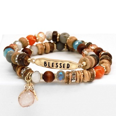 Blessed Beaded Bracelet with Charms  -