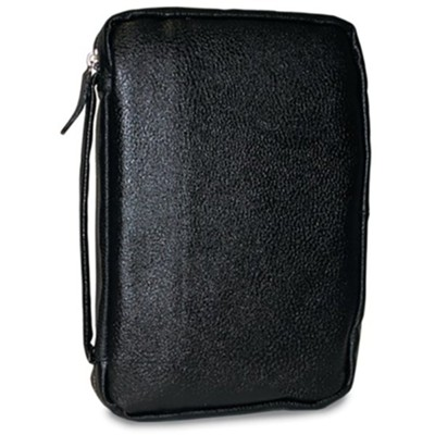 Leather Bible Cover, Black, Compact   -