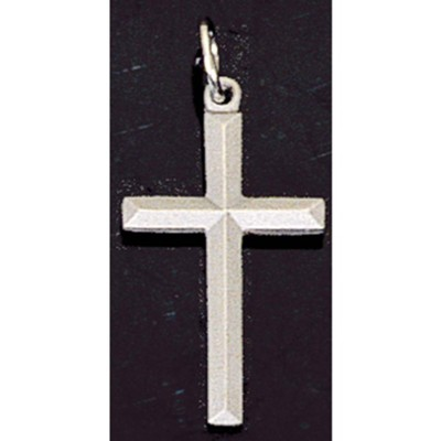 Bevel Cross Necklace, Silver  -