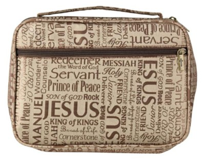 Names of Jesus Bible Cover, Jaquard Brown, X-Large  -