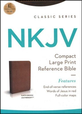 NKJV Compact Large Print Reference Bible, Imitation Leather, Earth Brown  -