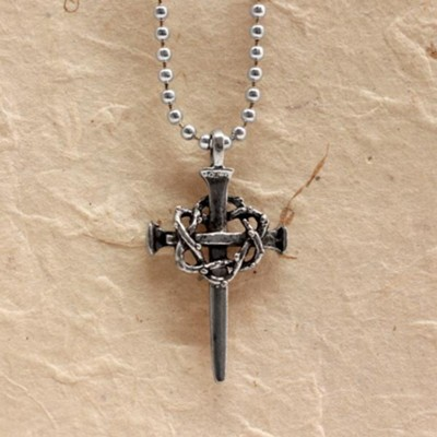 Crown of Thorns Cross Pendant on 30 Ball Chain  -
