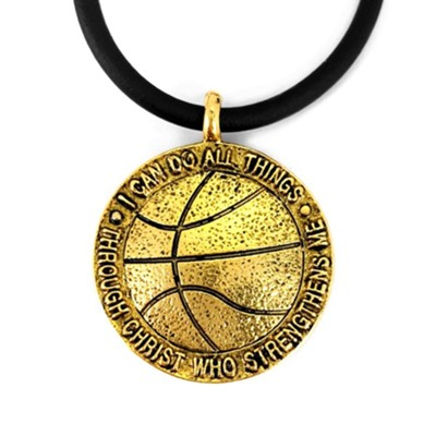 Basketball, Phillipians 4:13 Pendant, Gold, Black Cord  -