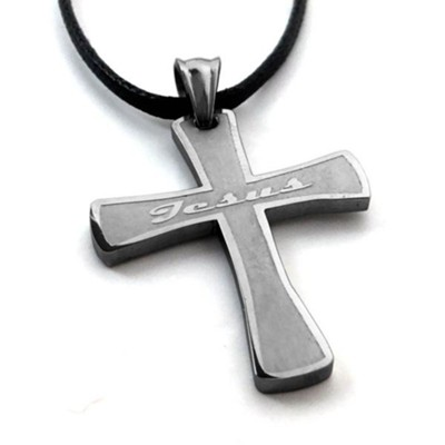 Jesus, Cross, Stainless Steel Necklace On Leather  -