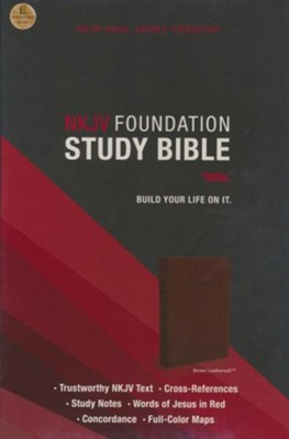 NKJV Foundation Study Bible--imitation leather, earth brown  -