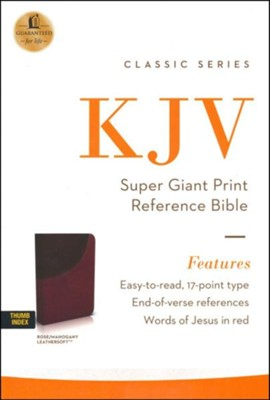 KJV Super Giant-Print Reference Bible--soft leather-look, rich rose/mahogany (indexed)  -