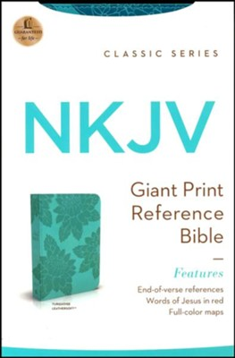 NKJV Giant-Print Personal-Size Reference Bible, Imitation leather Turquoise, Flower design  -