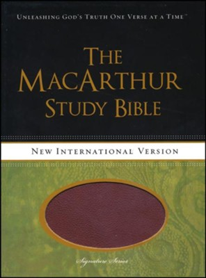 NIV MacArthur Study Bible--soft leather-look, auburn/black  -     By: John MacArthur