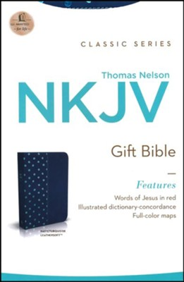 NKJV Gift Bible--soft leather-look, navy/turquoise  -