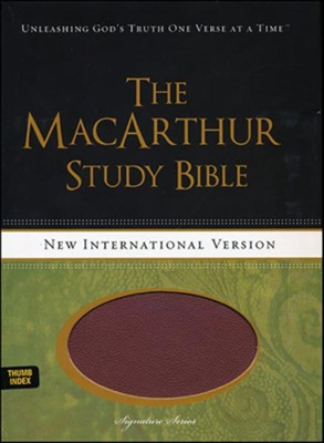 NIV MacArthur Study Bible--soft leather-look, auburn/black (indexed)  -     By: John MacArthur