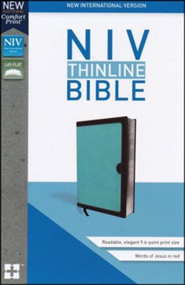 NIV Thinline Bible Blue and Brown Imitation Leather  -