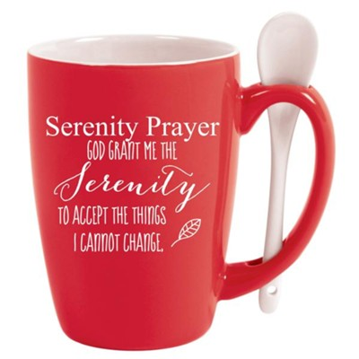 Serenity Prayer, Spoon Mug, Red  -