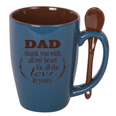 Dad, Thank You With All My Heart, Spoon Mug, Blue  -