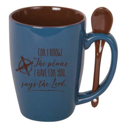 For I Know the Plans I Have for You, Spoon Mug, Blue  -