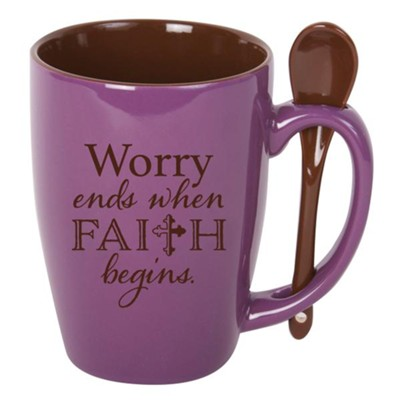 Worry Ends Where Faith Begins, Spoon Mug, Purple  -