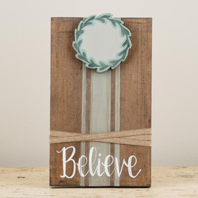 Believe With Wreath, Ribbon Photo Frame  -