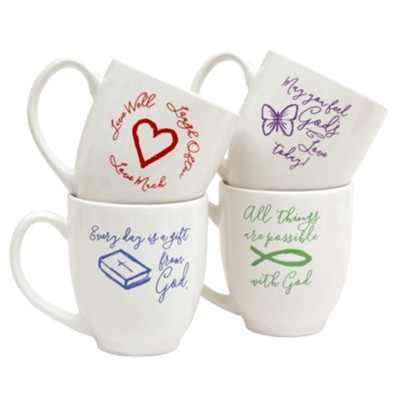 All Things, Live Well, God's Love, Gift From God Mug Set  -