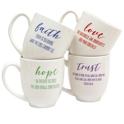 Trust, Love, Hope, Faith Mug Set  -