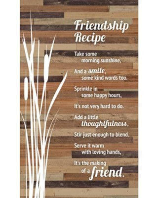 Friendship Recipe Plaque  -