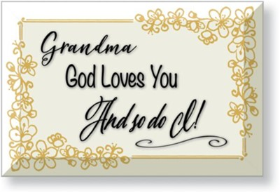 Grandma, God Loves You, Glass Plaque  -