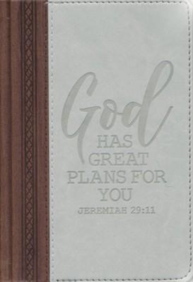 God Has Great Plans For You Journal, Faux Leather, Gray  -