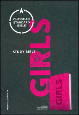 CSB Study Bible for Girls Hot Pink, Paisley Design LeatherTouch  -     Edited By: Larry Richards