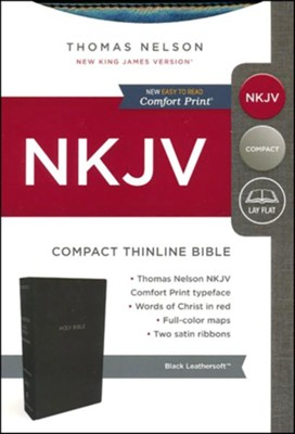 NKJV Compact Thinline Bible, Imitation Leather, Black  -
