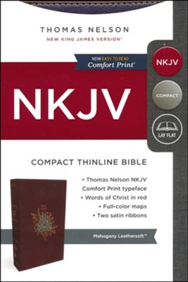 NKJV Compact Thinline Bible, Imitation Leather, Burgundy  -