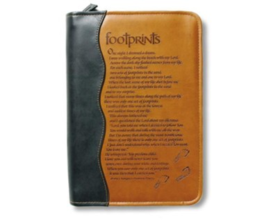 Duo-Tone Footprints Bible Cover, Large   -