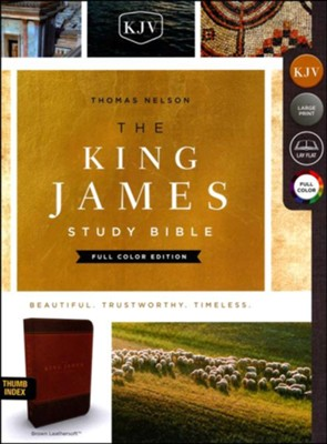 KJV Study Bible Full-Color Edition, Imitation Leather, Brown, Indexed  -
