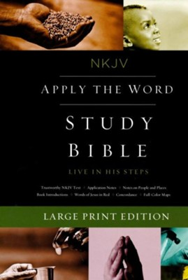 NKJV Apply the Word Study Bible, Large Print, Imitation Leather, Brown, Red Letter Edition  -
