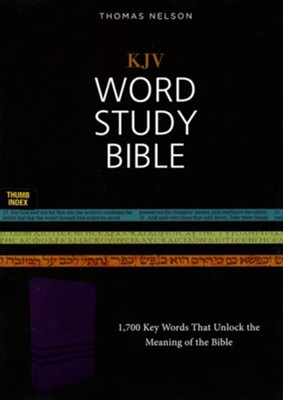 KJV Word Study Bible, Imitation Leather, Purple, Indexed, Red Letter Edition  -