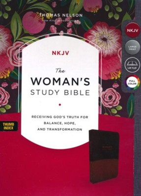 The NKJV Woman's Study Bible, Imitation Leather Brown/Burgundy, Full-Color, Indexed  -