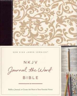 NKJV Journal the Word Bible, Imitation Leather, Brown/Cream, Red Letter Edition  -