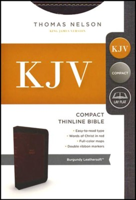 KJV, Thinline Bible, Compact, Imitation Leather, Burgundy  -