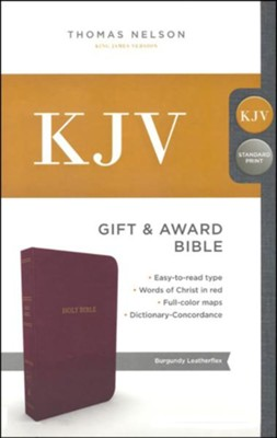 KJV, Gift and Award Bible, Imitation Leather, Burgundy  -