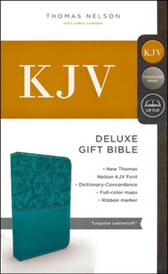 KJV, Deluxe Gift Bible, Imitation Leather, Teal Red Letter Edition  -