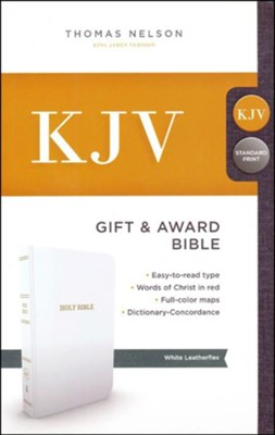KJV, Gift and Award Bible, Imitation Leather, White  -