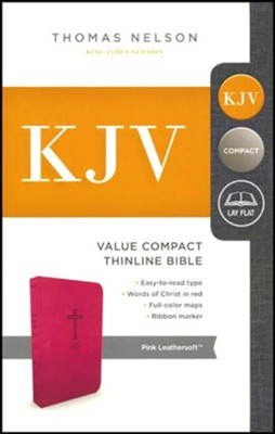 KJV, Value Thinline Bible, Compact, Imitation Leather, Pink  -