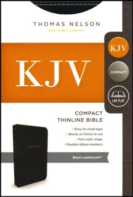 KJV, Thinline Bible, Compact, Imitation Leather, Black  -