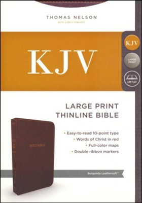 KJV, Thinline Bible, Large Print, Imitation Leather, Burgundy, Red Letter  Edition