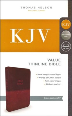 KJV, Value Thinline Bible, Standard Print, Imitation Leather, Brown, Red Letter Edition  -