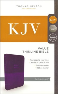 KJV, Value Thinline Bible, Standard Print, Imitation Leather, Purple, Red Letter Edition  -